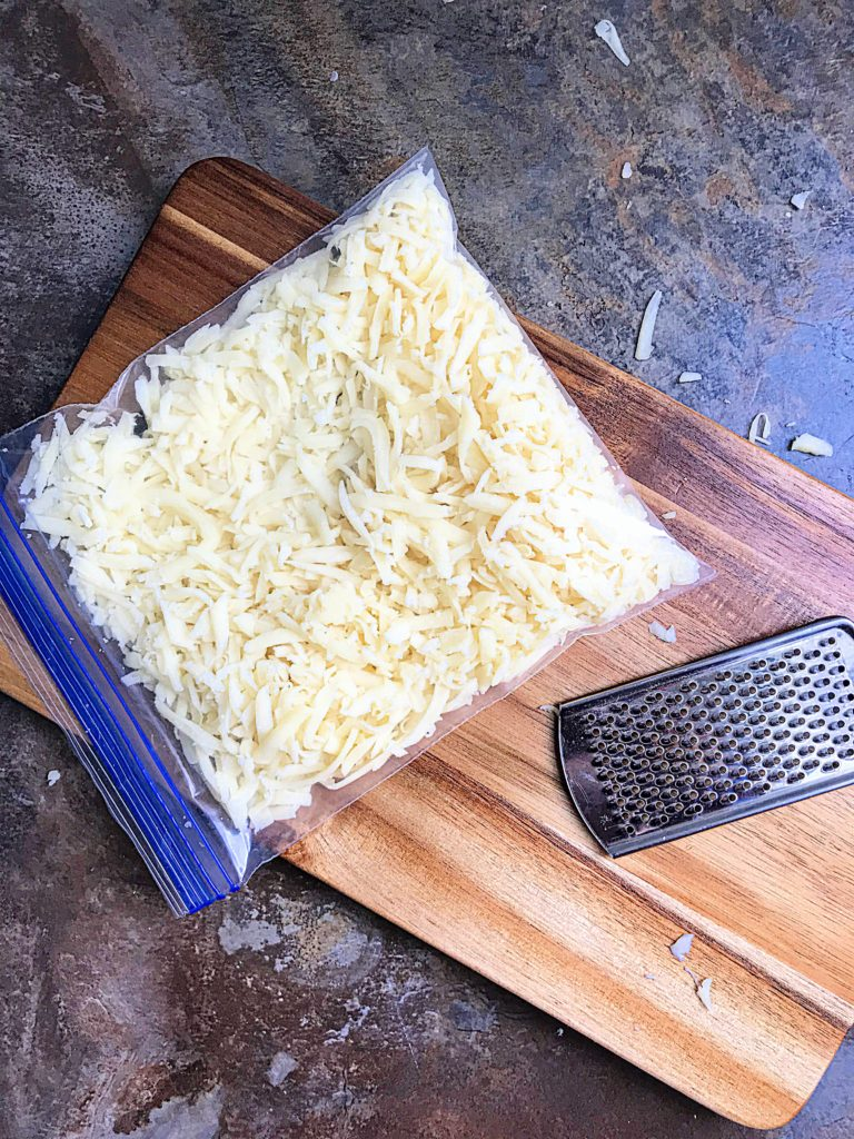 Homemade shredded cheese