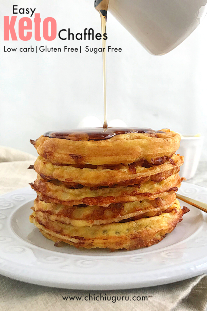 Easy keto chaffles with a drizzle of sugar free syrup from the top