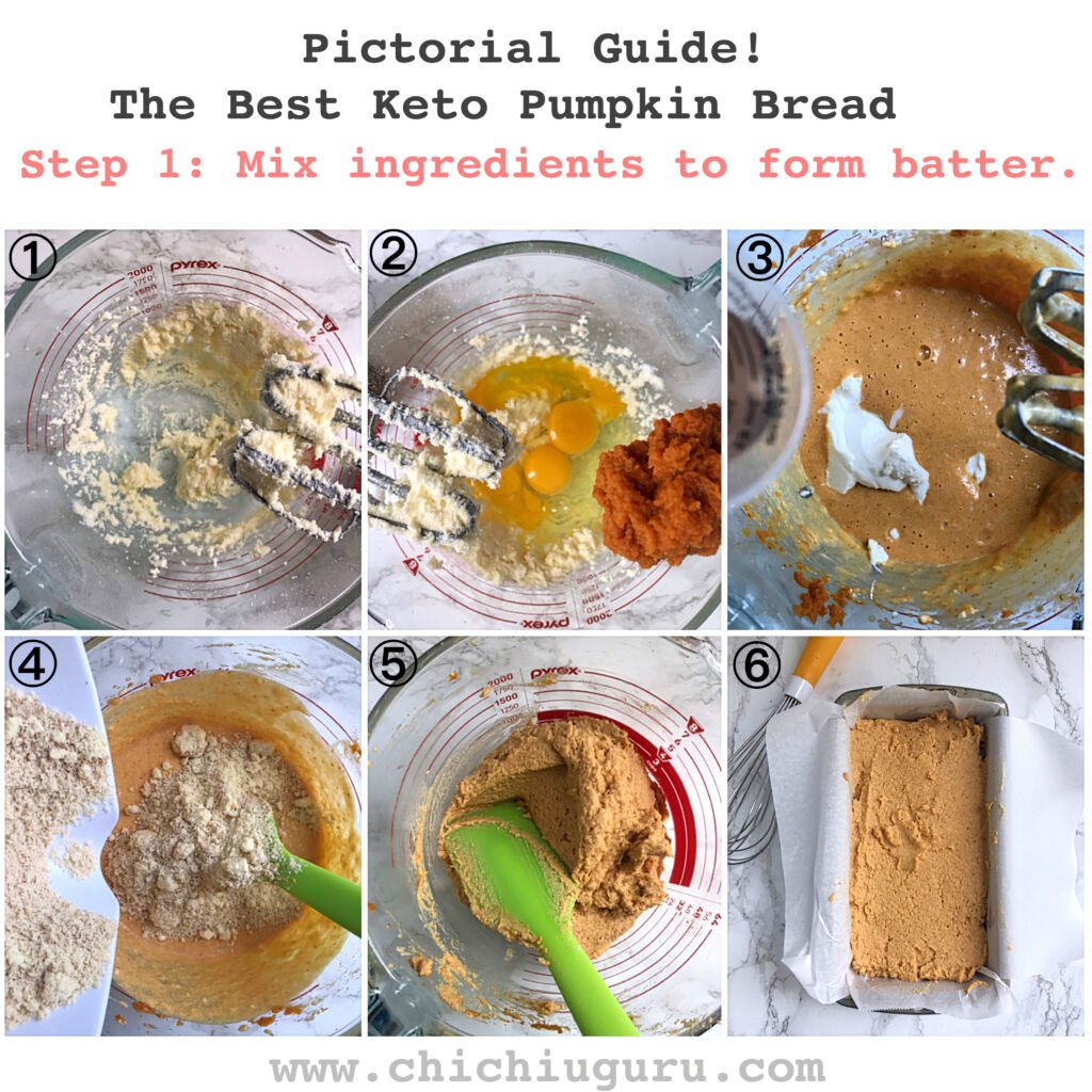 keto pumpkin bread guide. step 1-6 making the batter