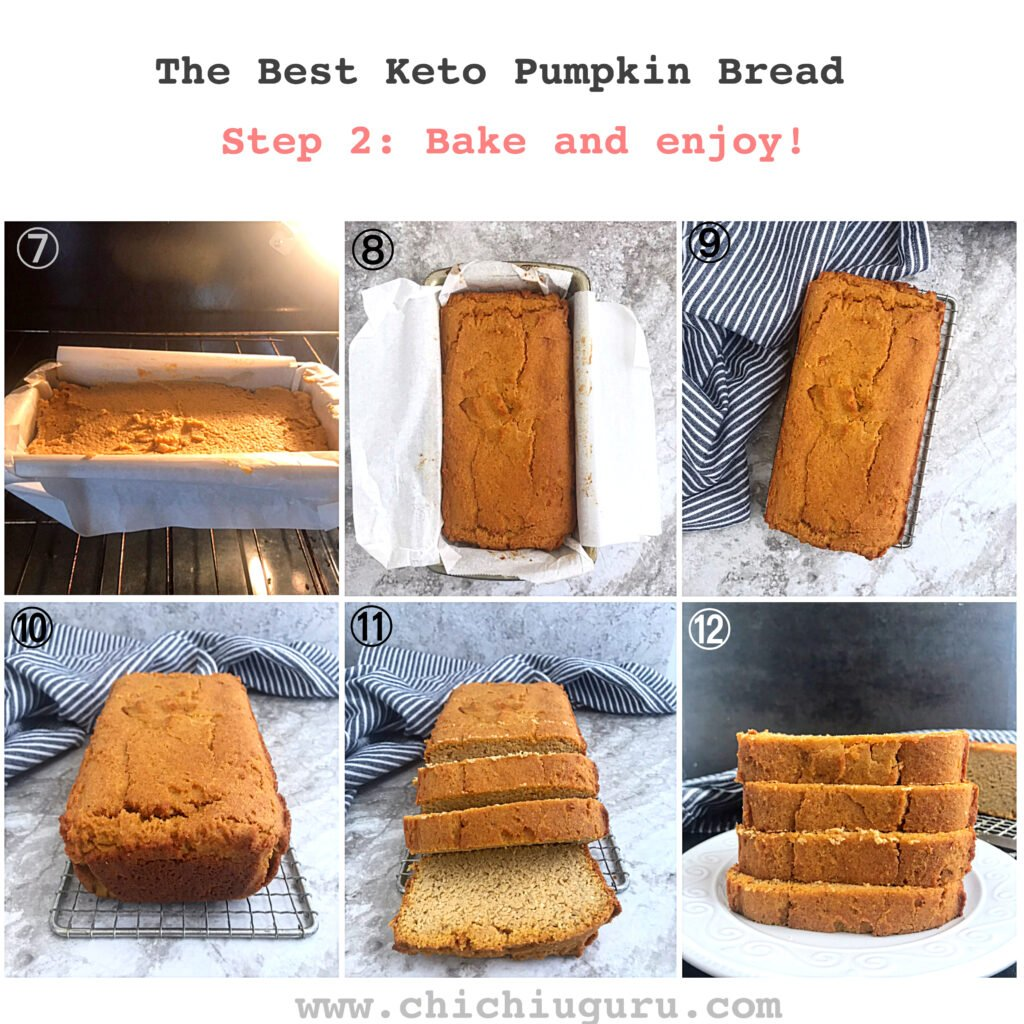 keto pumpkin bread picture guide. steps 7 to 12 Bake and enjoy