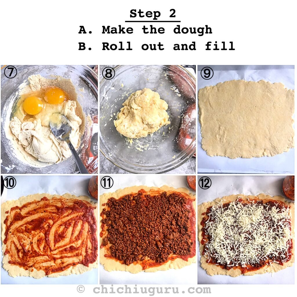 Keto pizza rolls how-to steps collage
