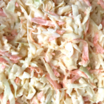 close shot of low carb coleslaw