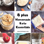 a collage of keto pantry staples