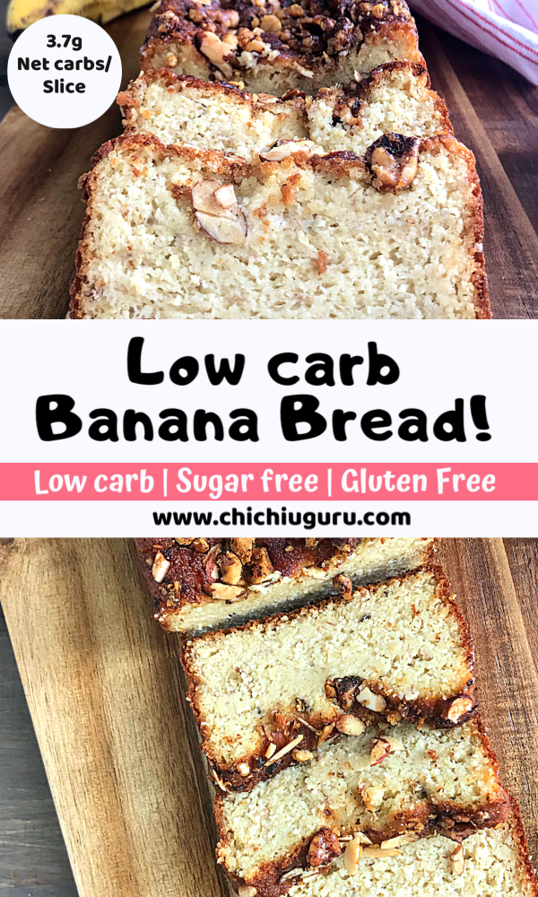 a collage of shots of low carb banana bread.