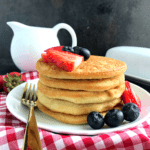 front view of sttacked keto pancakes,