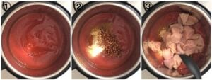 collage showing steps to making butter chichen in an instant pot