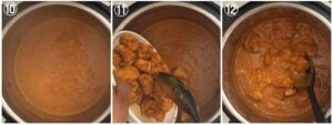 collage showing simmerings butter chicken sauce