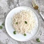 shirataki rice in a white plate